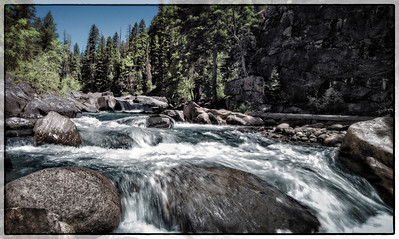Near Durango, Colorado, the Vallecito Creek trail drops from the mountain down to the creek bed.  The white water draws kayakers.