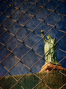 On Liberty Island in New York, the Statue of Liberty was inaccessible, her charms fenced off from the public.