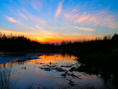 first day of winter,  Saranac Lake High School Pond, sunset, 417pm, dec 21, 2006
