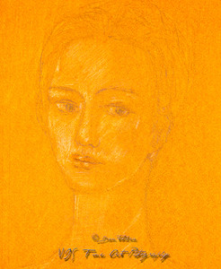 Faint Sketch of a Young Woman Portrait
