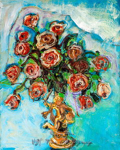 Roses and Putto Vintage Oil Painting