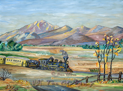 A Train Moving Through Wild Wild West Naive Painting
