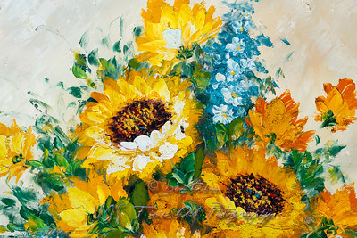 Colorful Fragment of Flowers Bouquet Oil Painting