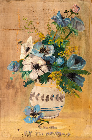 Flowers in a Vase Damaged Vintage Oil Painting