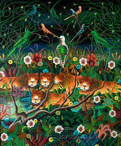 Lionesses and Tropical Birds, Plants, and Flowers Naive Painting