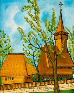 Naive Painting of Wooden Church
