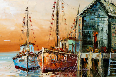 Colorful Fragment of Fisherman Boats and Shacks in Harbor Oil Painting