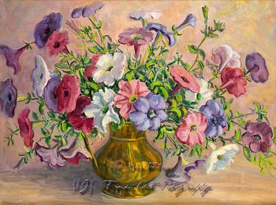 Flowers in a Vase Vintage Oil Painting