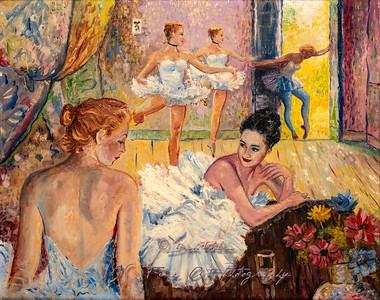 Young Ballerinas in Dance Studio Painting