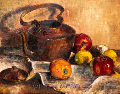 Teapot with Apples and Lemons Still Life Painting