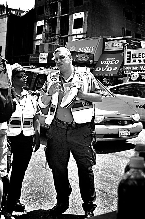 The City's finest grabbing lunch on the go.