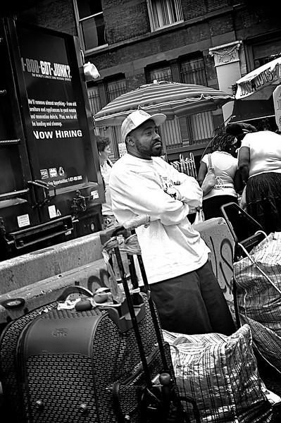 Focus on a street vendor.