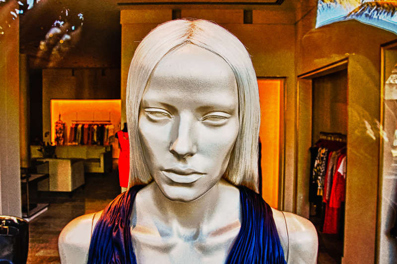 Welcome to my store! An HDR of a mannequin in a store window.