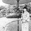 red umbrella at Ninomaru Palace, Kyoto, Japan