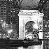 Washington Square. Night rain.