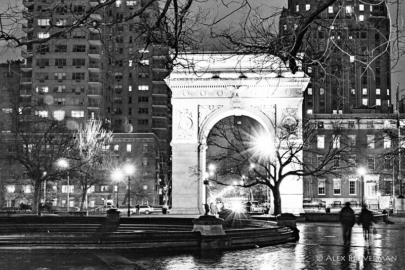Washington Square. Night rain.