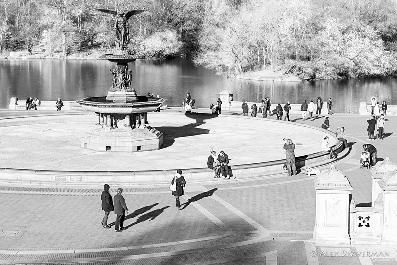 around the dry fountain