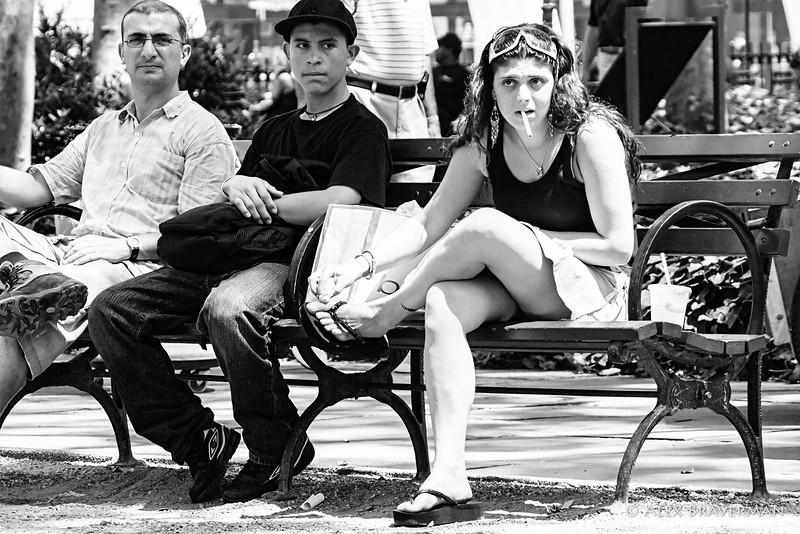 smoking on the bench