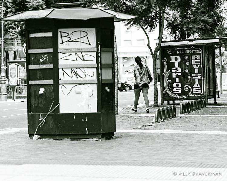 between kiosks