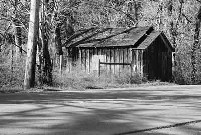 Abandoned garage on Saanich Peninsula, on Vancouver Island BC