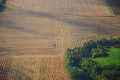 Aerial Photograph, Farmers Harvesting Crops,