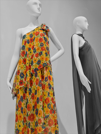Two Yves St. Laurent dresses on display at the Artis-Naples Baker Museum, Naples, Florida.