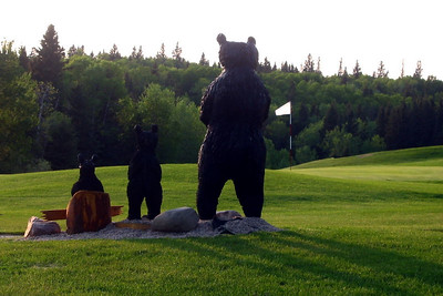 welcoming bears at the 18th green at Clear Lake