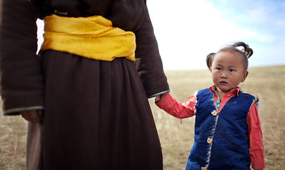 Holding Dad's hand - Mongolia Steppes