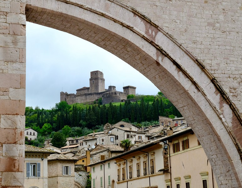 Rocca Maggiore Framed by a Flying Buttress of the Basilica of Santa Clara, Assisi