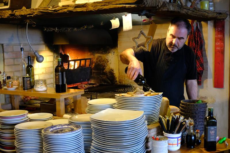 Chef Gino Preparing Crostini with Chicken Liver Pate, Le Mandrie di San Paolo