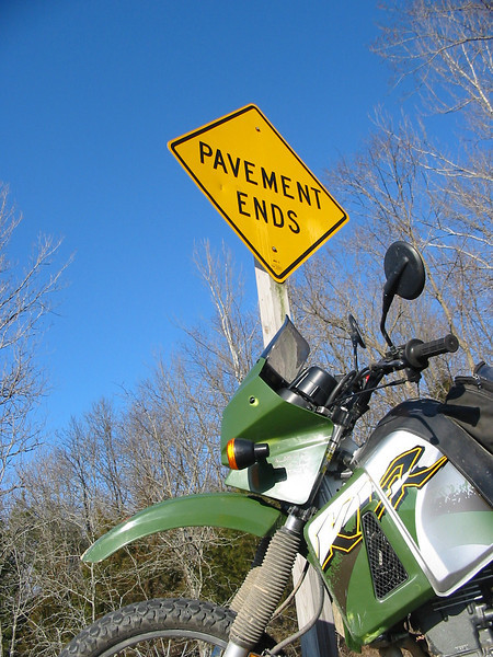 A great road sign for a KLR rider.