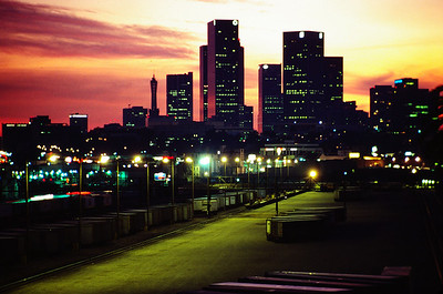 Downtown Los Angeles from North Broadway. Late 70's or early 80's.