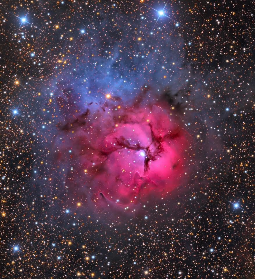 "M20 The Trifid Nebula in Sagittarius RCOS 16"" F9 Ion Milled Apogee F16 LRGB (2hr, 1.5,1,2) NMSkies Remote Mayhill, NM May 2013"