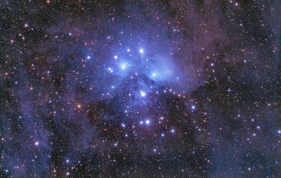 M45 The Pleiades. The 3 min exposure were shot from my Orange zone backyard in Boerne, TX and the 10 min shots were from a grey zone outside of town near Dilley TX.  Taken on 11/5/2011 and 11/23/2011.  23X10min and 53X3min 800 iso with Tak FSQ 106edxiii and Hap Griffin Modified Canon 5d markii on the AP1200 mount.