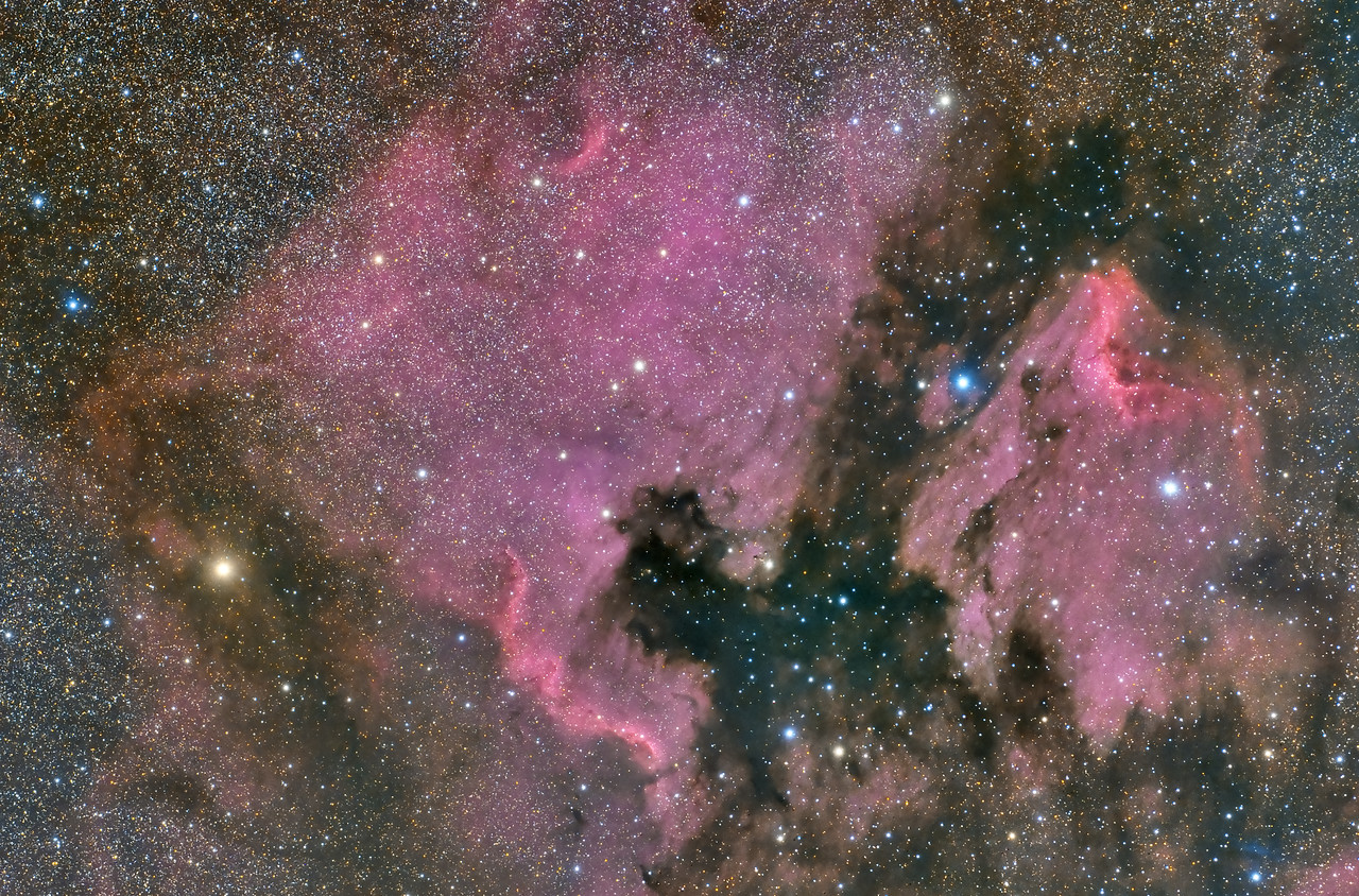 North American and Pelican Nebulas. Shot 6/13/12 from Flaming Gorge UT.  3X1200sec -30C FLI Microline 11002OSC CGEM Mount