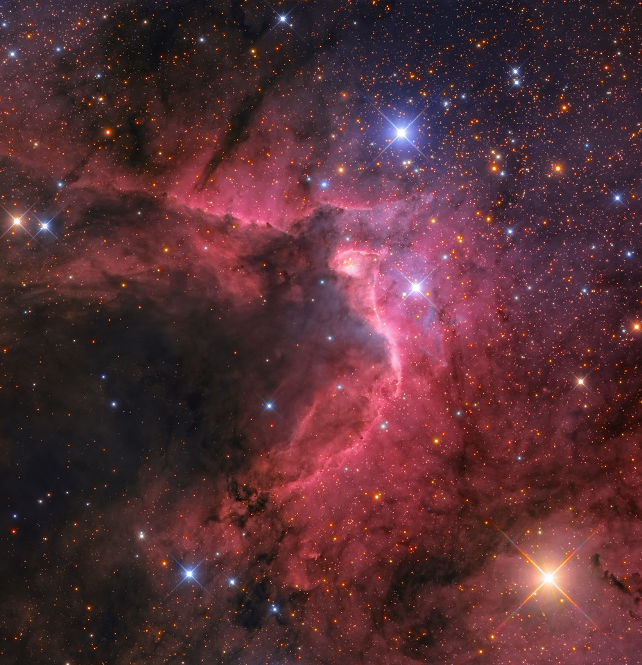 """Here is a hybrid image of The Cave Nebula from two very different scopes.   The original image created by T.A. Rector (University of Alaska Anchorage) and H. Schweiker (WIYN and NOAO/AURA/NSF) has been creatively modified by myself from the NM Skies Remote Observatories with an RCOS 16"""".  The Mayall narrowband data was used to create a synthetic Luminance and the RCOS LRGB was used as the the RGB to create the final image.  This was a 4 panel mosaic from the Mayall 4 meter on Kitt Peak.  I used their heavy HA rich data and blended in my LRGB to get a very detal rich image with a more LRGB look."""