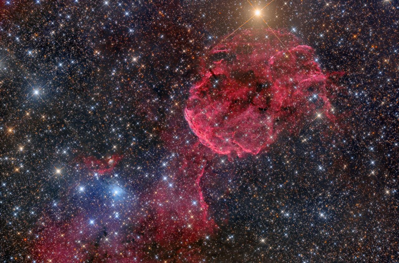 IC443 the Jelly Fish Nebula. Also LBN 844, 840. LDN 1564, 1565. CGN 73,74 The Jelly is a supernova remnant that exploded 3,000-30,000 yrs ago. Bit of a mystery there. It is about 5,000 light years away and it just larger than the full moon in the sky.  26X1200sec ASA N10 F3.59 FLI Microline 11002 OSC Jan 8-12 2013 NMSkies Remote