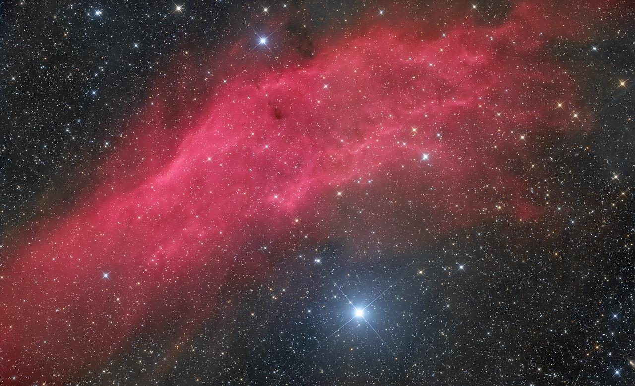 NGC 1499 The California Nebula 2 frames mosaic 90X300 each FLI Microline 11002 OSC ASA N10