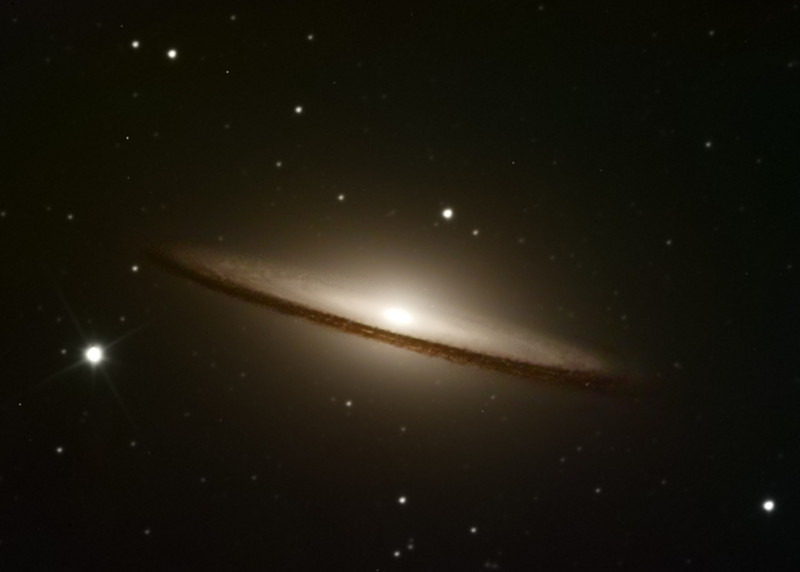 "M104 Sombrero Galaxy in LRGB<br /> L 8.5 hrs 52 off 10min subs bin1. RGB 25min each 8 off 5min subs bin2<br /> Taken on a 10""RCOS RC at f9 (2275mm FL), PME mount and ST10XME in urban skies . Off axis guided"