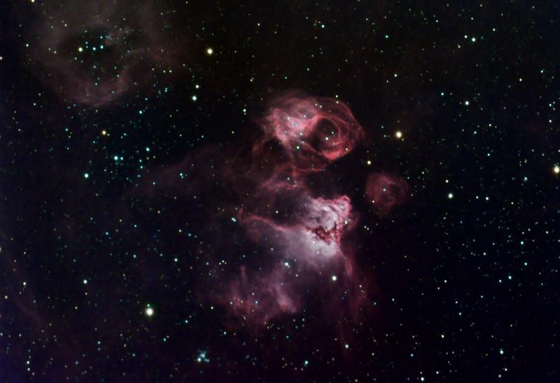 "NGC2035 / N59A  Diffuse Nebula<br /> Ha RGB : Ha 10hrs, 3 nm 20min subs bin1:  RGB 80mins each, 10 min subs bin2<br /> Taken on a Meade 12"" LX200R OTA, G11, ST10XME, at f6.7"