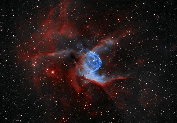 Nebula NGC2359 Thors Helmet in Narrowband in Canis Major.