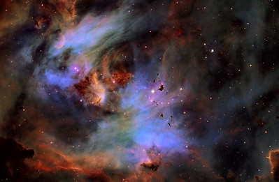 IC2944 Running Chicken Nebula in Colour Mapped Narrowband