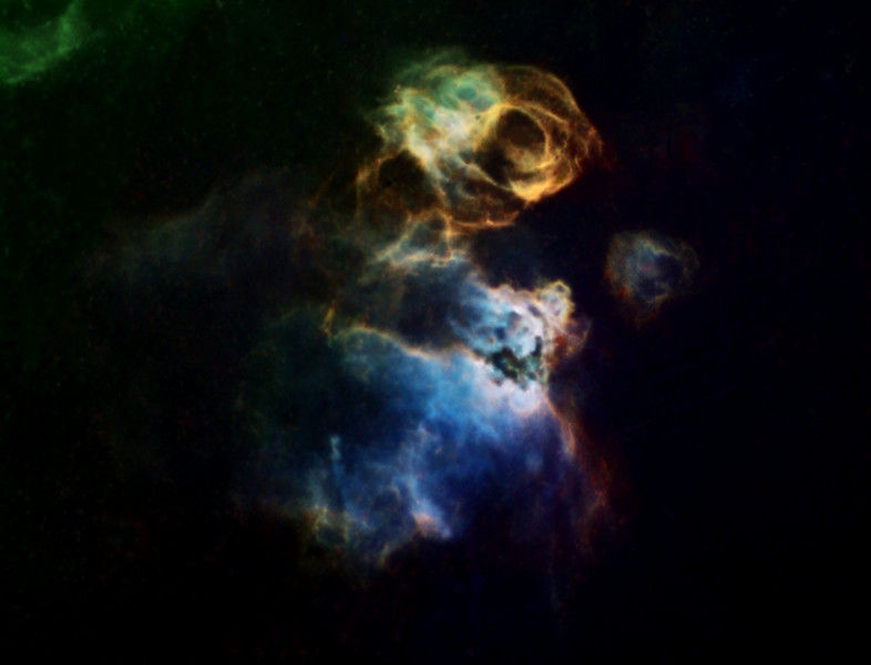 """Starless NGC2035 / N59A  Diffuse Nebula in colour mapped Narrowband<br /> Incorrectly labelled as the Seagull nebula in Sky6 and X<br /> Ha:SII:Ha:OIII mapped as LRGB. Ha 10rs bin1:SII and OIII 6.6 hrs bin2. All 20min subs<br /> RGB stars inserted.<br /> Off axis guided with with 2 second exposures<br /> SII and OIII taken on a 10""""RCOS RC at f9 (2275mm FL), PME mount and ST10XME in urban skies<br /> Ha Taken on an LX200 12"""" OTA at f6.7<br /> Image is cropped"""