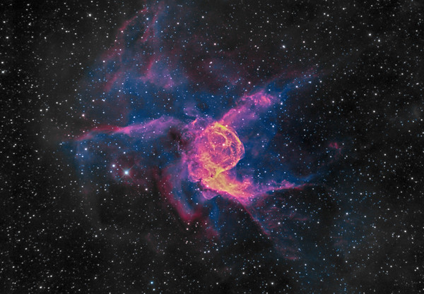 Nebula NGC2359 Thors Helmet in Ha/OIII bicolour.