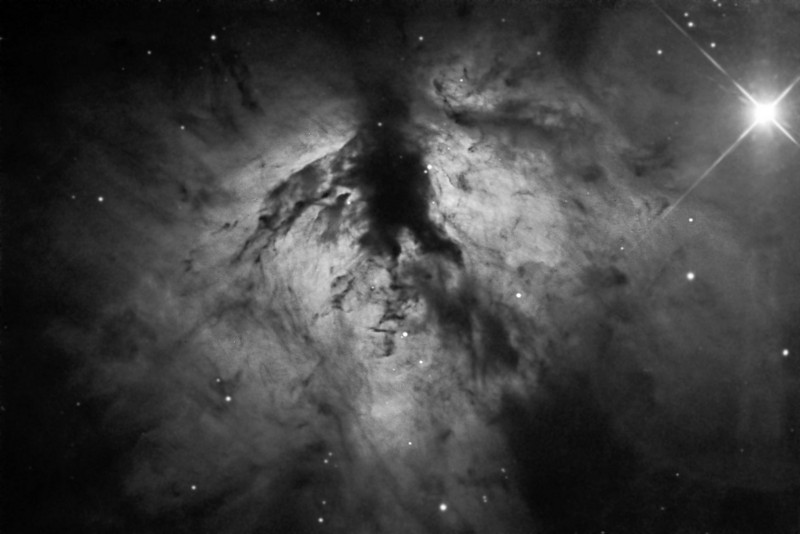 "NGC2024 Flame Nebulae in Ha.  1 hour (6 off 10 min subs)<br /> Taken on GRAS G15, PME, RCOS 10"" OTA, ST8XME. AP0.67 FR"