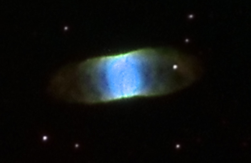 "IC4406 Retina Nebula in colour mapped Narrowband<br /> Ha:Ha:OIII:SII Ha 3nm 2.5hrs 15 min subs ; OIII 30mins ; SII 40mins <br /> Mapped as LRGB Taken on a 10""RCOS RC at f9 (2275mm FL), PME mount and ST10XME in urban skies<br /> Off axis guided with an SBIG AO8 (adaptive optics guider) operating at 3 hz<br /> Image is heavily croped, object is 23 arc seconds in diameter."