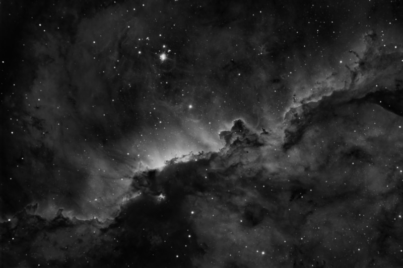 "Nebula NGC6188 in Ha narrowband..<br /> Taken on an RCOS 10"" RC Scope at f9, SBIG STXL6303E Camera and PME mount.at itelescopes Siding Spring Observatory.<br /> 22hrs of 3nm Ha, 33 of 40 min subs bin1, .<br /> Processed with CCDstack and Star Tools."