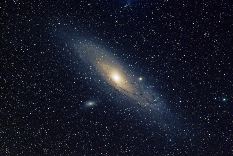 M31 Andromeda Galaxy<br /> LRGB all 5 min subs, L 45 min, RGB 25 min each<br /> Taken on a Tak FSQ106ED and ST11K  (GRAS G14 in New Mexico)