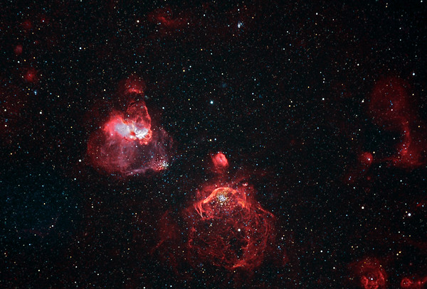 NGC1850 and NGC1858 Nebulae in colour  mapped Narrowband