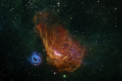 Nebulae NGC2014 and NGC2020 in Colour Mapped Narrowband.